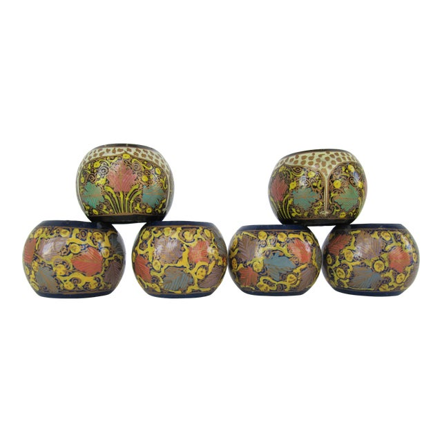 Mixed Painted Indian Design Napkin Rings - 6 Pieces For Sale