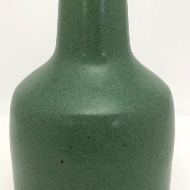 Vintage Art Pottery Vase With Long Neck and Satin Green Glaze For Sale - Image 9 of 13