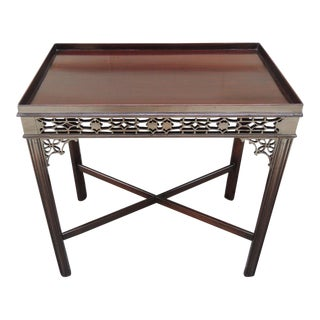 Early 19th C English Chinese Chippendale Style Mahogany Tea or Silver Table For Sale