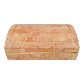 Maitland-Smith Tessellated Marble Stone Trinket Box For Sale