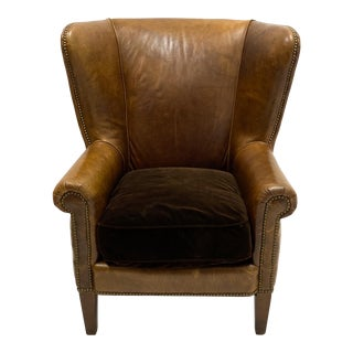 Vintage Saddle Leather Ralph Lauren Wingback Chair For Sale