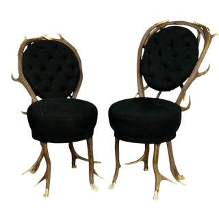 1860s Antler Parlor Chairs - a Pair For Sale