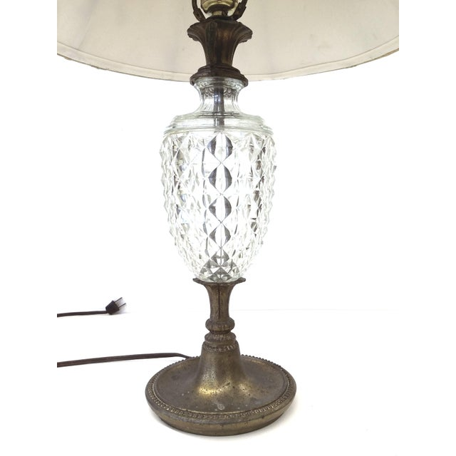 Antique Glass & Brass Pineapple Style Table Lamp - Image 3 of 10