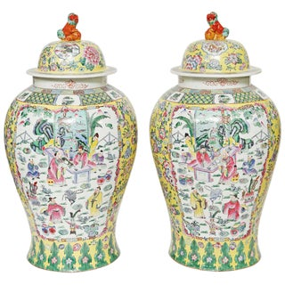 Polychromed Chinese Porcelain Temple Jars- A Pair For Sale