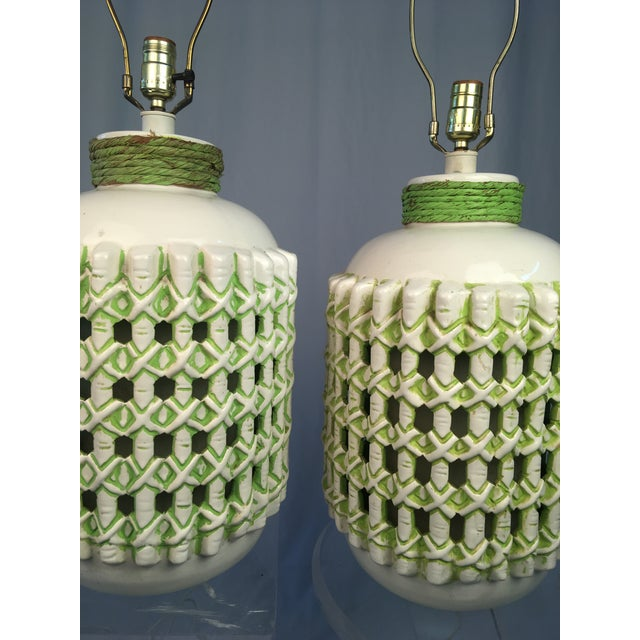 Striking and beautiful pair of vintage lamps! These are large! I had to use two lucite tables to display them for the...