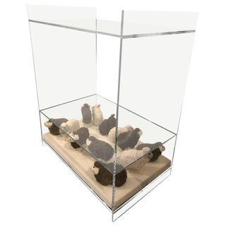 Lucite Object d'art Wooly Sheep Bedside / Side Table by AMK for Patricia Kagan