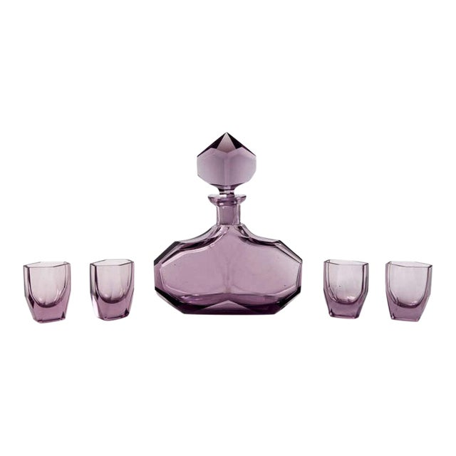 Art Deco Amethyst Glass Decanter and Glasses - Set of 5 For Sale