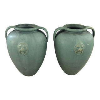 Double Handled Green Olive Jars With Lionhead Details - A Pair For Sale