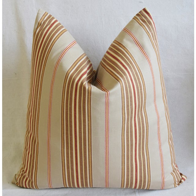 "French Striped Ticking Feather/Down Pillows 23"" Square - Pair For Sale - Image 10 of 12"