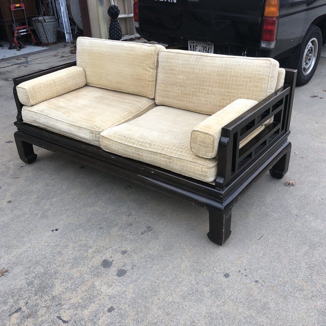 Wood Lamont Ming Chinoiserie Solid Wood Loveseat Sofa** For Sale - Image 7 of 7