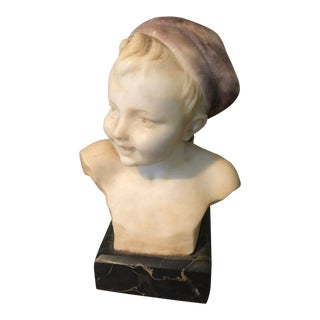 1970s Vintage Italian Young Boy Stone Sculpture For Sale