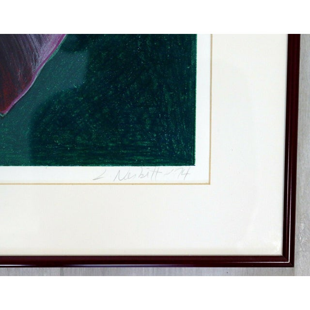1970s Mid Century Modern Framed Lowell Nesbitt Hand Signed Lithograph Lily & Rose For Sale In Detroit - Image 6 of 7