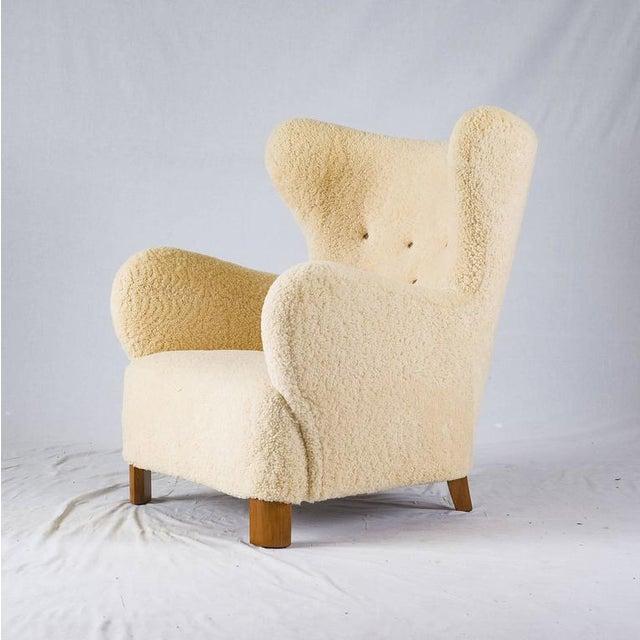 Mid-Century Modern Scandinavian Sheepskin Lounge Chair For Sale - Image 3 of 10