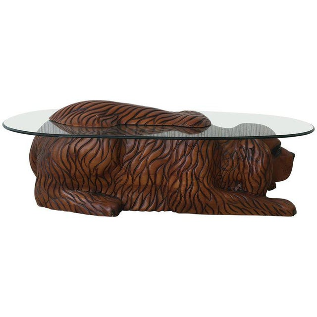 20th Century Country Carved Table Featured a Lifesize Dog With Cristal Top For Sale - Image 12 of 12