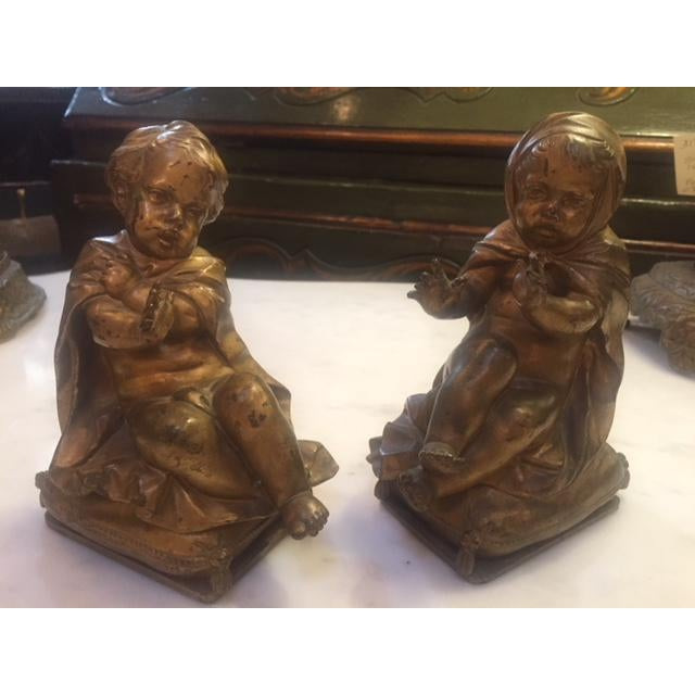 Pair of Gold Bronze Statue For Sale - Image 9 of 9