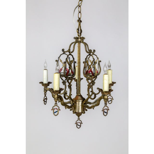 Gothic Medieval Revival Coat of Arms and Painted Arrows Chandelier For Sale - Image 3 of 8