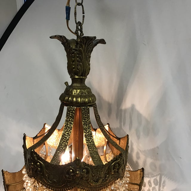 Art Nouveau French Gold Tier Swag Lamp Chandelier For Sale - Image 3 of 12