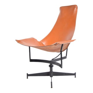 Leather and Steel Sling Chair by Max Gottschalk For Sale