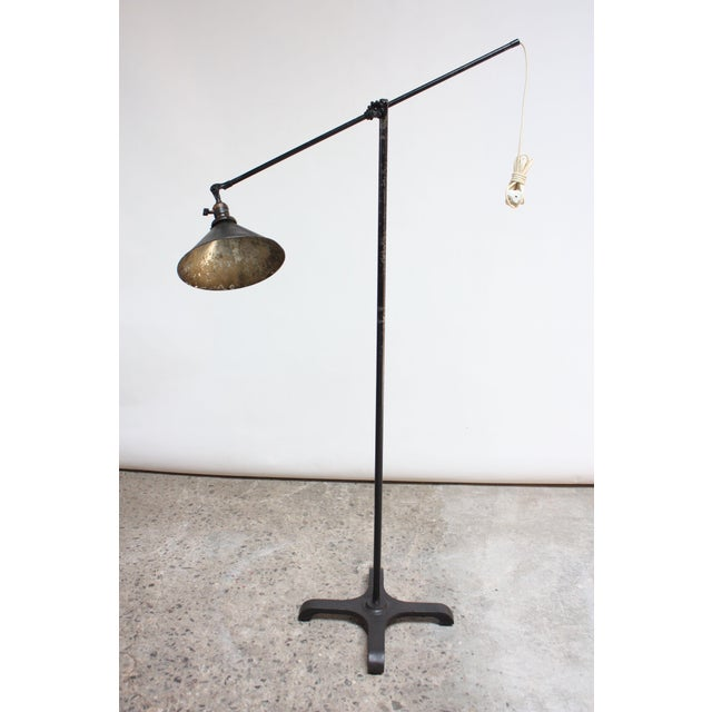 O.C. White (circa 1930s) floor lamp complete with all original parts (knobbed knuckle adjuster, socket, screws). Composed...