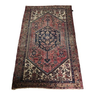 Early 20th Century Antique Persian Red & Blue Wool Rug - 4′2″ × 6′8″ For Sale