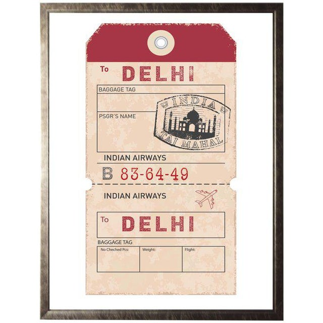"""Traditional Delhi Travel Ticket - 23.5"""" X 29.5"""" For Sale - Image 3 of 3"""