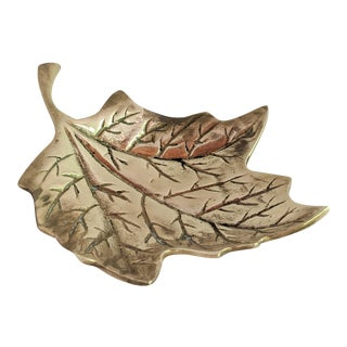 Brass Maple Leaf Paperweight / Trinket Holder For Sale