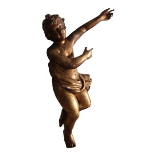 Extra Large Giltwood Cherub Figure For Sale