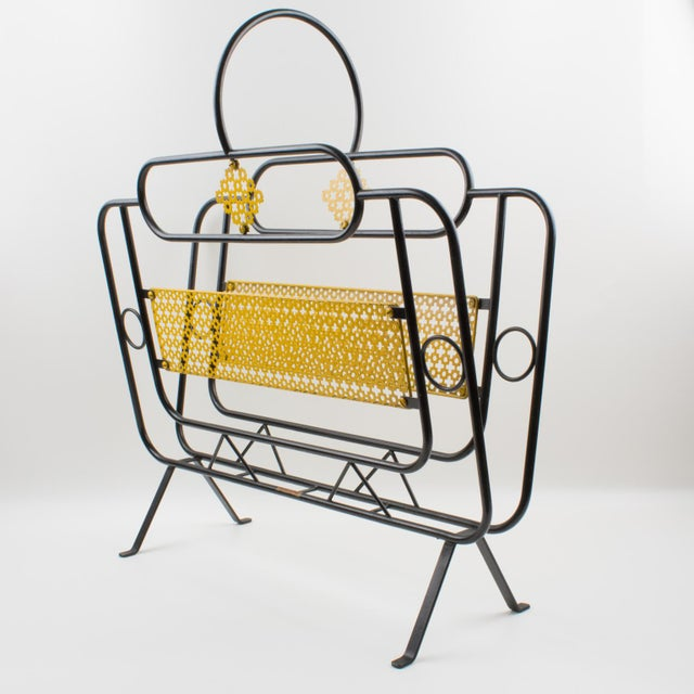 Black Mathieu Mategot Style Metal Magazine Holder Rack For Sale - Image 8 of 13