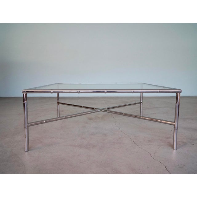 Chrome 1960s Hollywood Regency Chrome Bamboo Coffee Table For Sale - Image 7 of 13