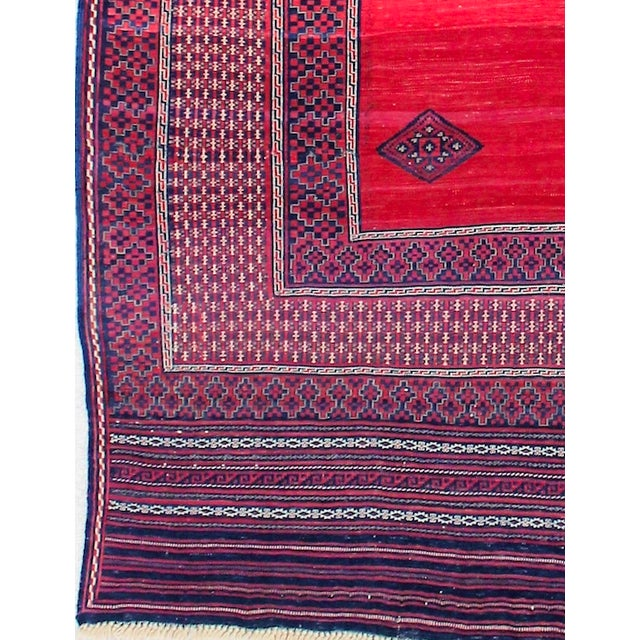 Red & Blue Vintage Turkish Kilim Rug - 6′ × 7′ For Sale - Image 5 of 8