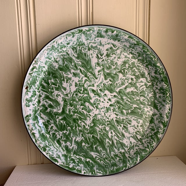 Marble Large Enamelware Marbleized Metal Tray For Sale - Image 7 of 8