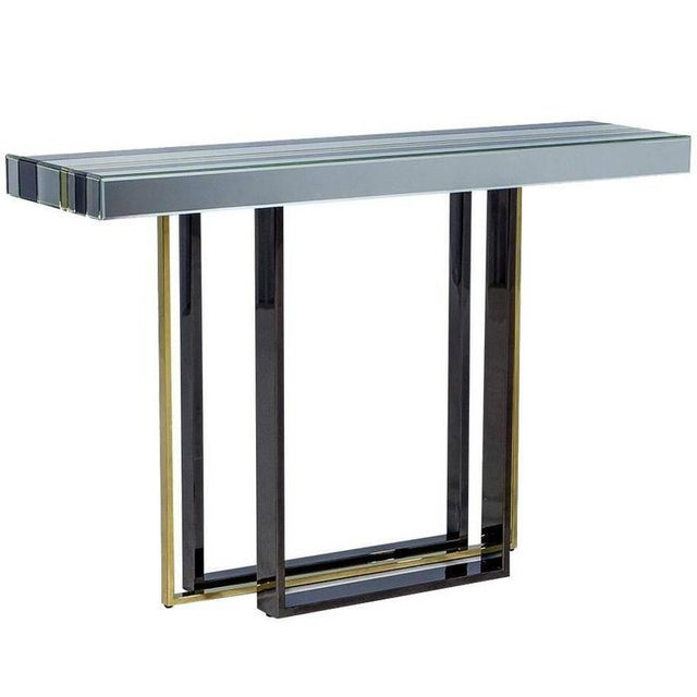 1970s Mid-Century Modern Tri Color Striped Mirror Console Table For Sale - Image 9 of 9