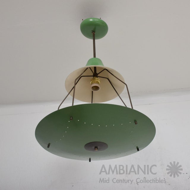 1950s Mid-Century Modern Pistachio Green Tiered Italian Chandelier Lamp, Italy For Sale - Image 11 of 11
