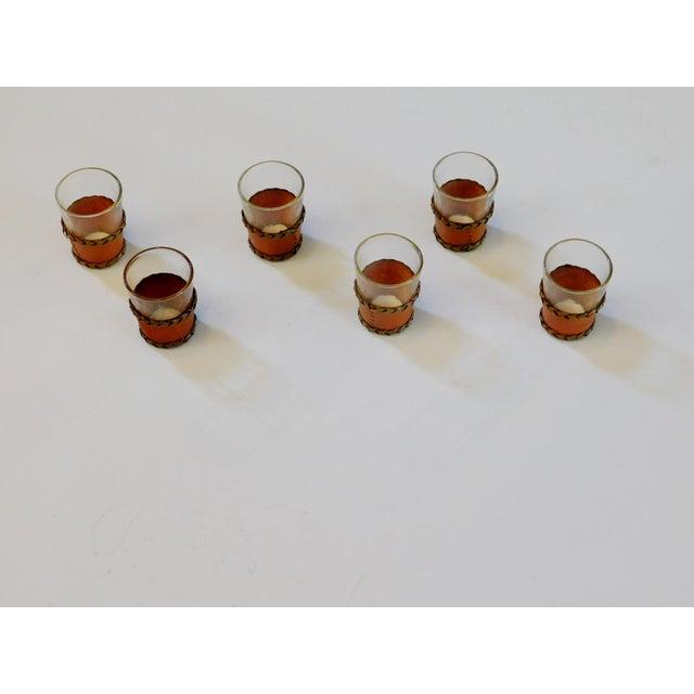 Leather Trimmed Shot Glasses - Set of 6 For Sale - Image 4 of 7