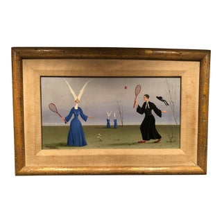 Surrealist Oil Painting of Nuns and Priest Playing Tennis For Sale