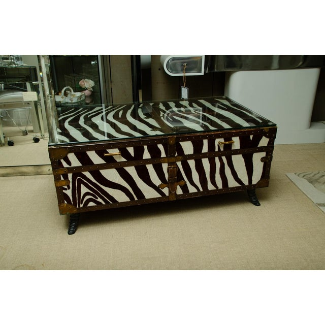 Black French Trunk/Cocktail Table Covered in Zebra For Sale - Image 8 of 11