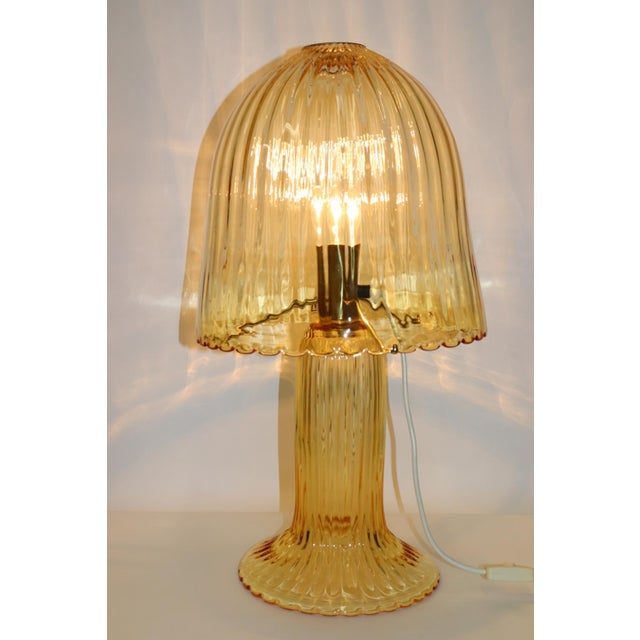 Rare Mid Century Modern Table Lamp Murano Hand Blown Transparent Amber Glass, Metal Gold Finish. Manufactured by Murano...