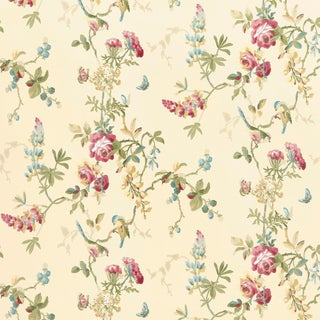 Schumacher Chickadee Floral Wallpaper in Vanilla For Sale