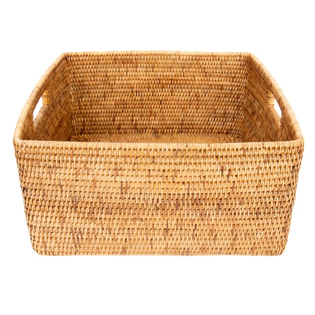 Boho Chic Boho Chic Artifacts Rattan Square Basket For Sale - Image 3 of 4