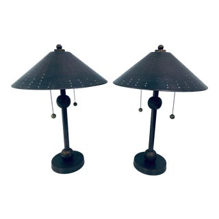 Postmodern Brass Desk or Table Lamps - a Pair For Sale