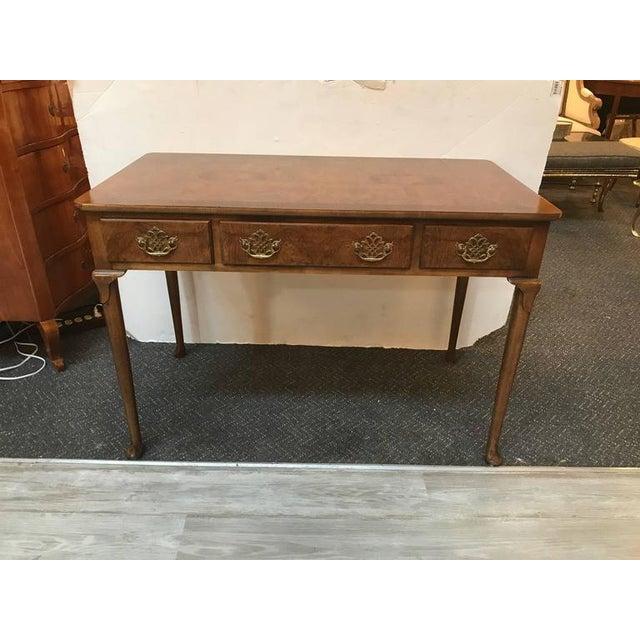 Baker Furniture Burl Walnut Writing Table Desk - Image 7 of 10