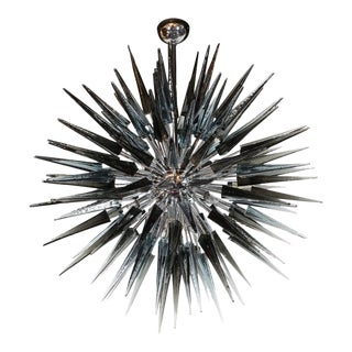 Stunning Smoked Grey Handblown Murano Glass Spiked Starburst Chandelier For Sale