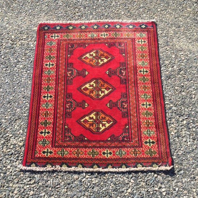 "Vintage Turkaman Red Persian Rug - 2'2"" x 2'9"" - Image 2 of 7"