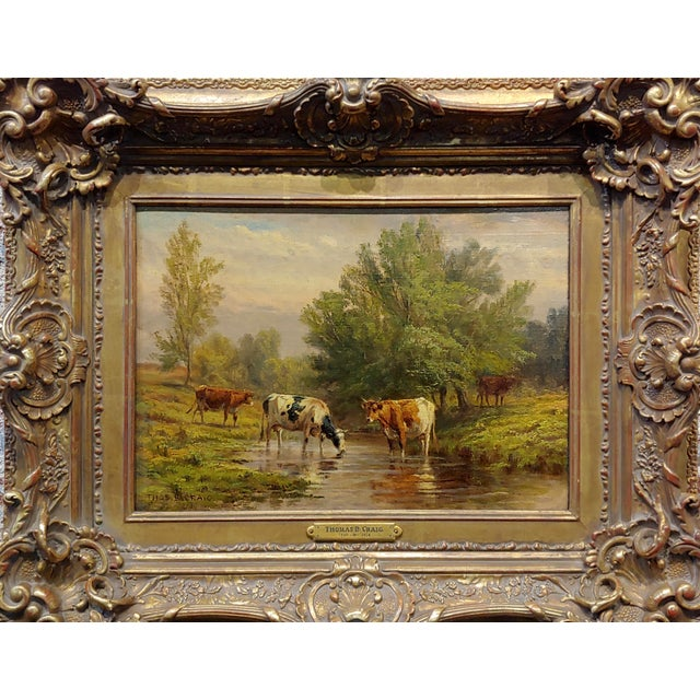 Thomas Craig -Cows grazing by water under a Summer Sky-Oil painting oil painting on canvas; signed -circa 1890s Canvas...
