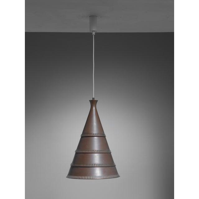Mid-Century Modern Knud Hjerting model p208 copper pendant for Lyfa, Denmark, 1960s For Sale - Image 3 of 3