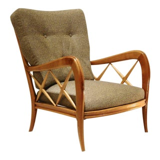 Pair of 1940s Paolo Buffa Cherrywood Armchairs, New Pierre Frey Upholstery For Sale
