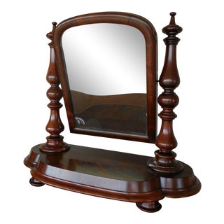 Antique Empire Period Mahogany Dressing Mirror For Sale