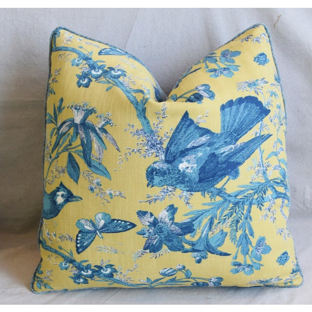 """Designer Blue & Yellow Bird and Butterflies Feather/Down Pillows 21"""" Square - Pair For Sale In Los Angeles - Image 6 of 13"""