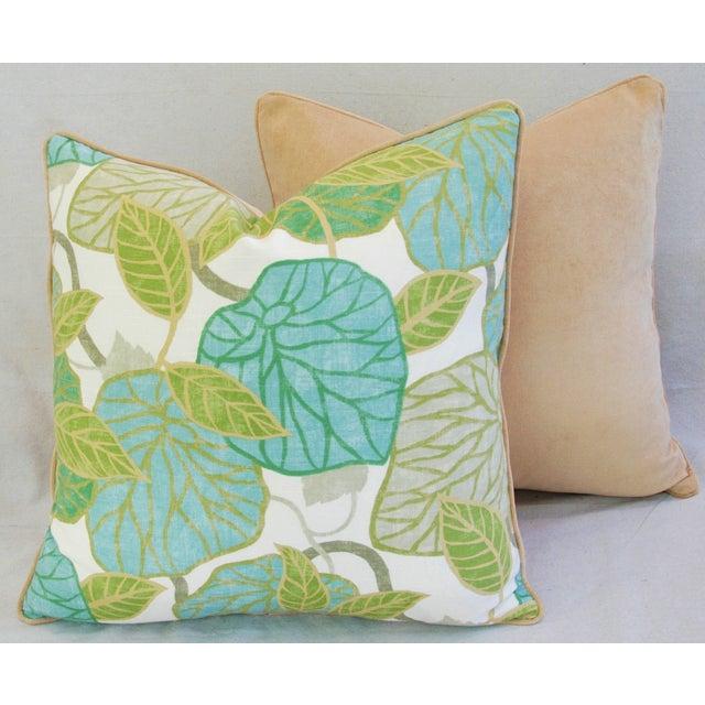 Custom Tailored Atrium Foliage Feather/Down Linen & Velvet Pillows - Pair For Sale - Image 10 of 11