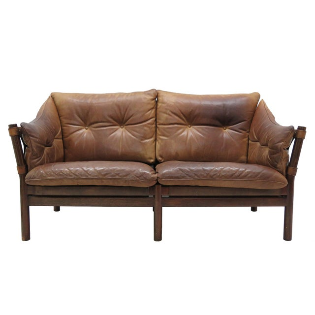 1960's Vintage 'Ilona' by Arne Norell Leather Settee For Sale - Image 13 of 13